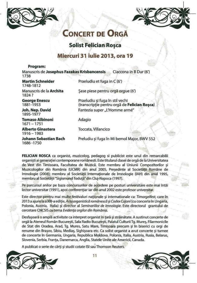 Concert de orga 31 iulie 2013
