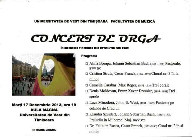 Concert de orga Timisoara, 17 Dec. 2013