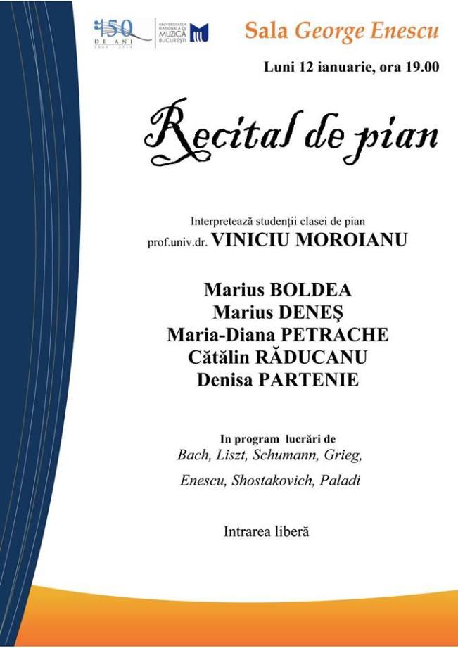 15 ianuarie Recital pian